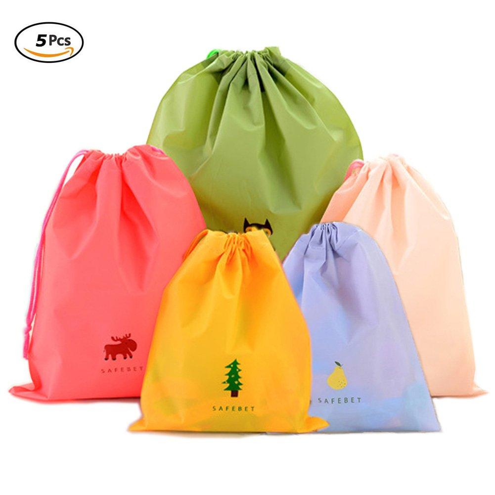Set of 5 Drawstring Bags Waterproof Plastic Storage Pouch for Travel Sport Gym PE WONDERSKY