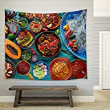 wall26 - Mexican food mix colorful background Mexico and sombrero - Fabric Wall Tapestry Home Decor - 51x60 inches