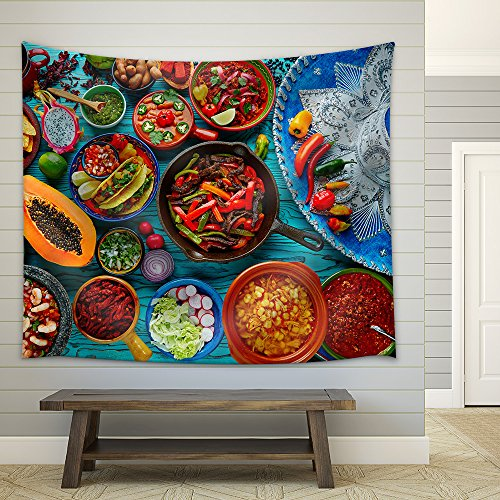 Mexican food mix colorful background Mexico and sombrero Fabric Wall Tapestry