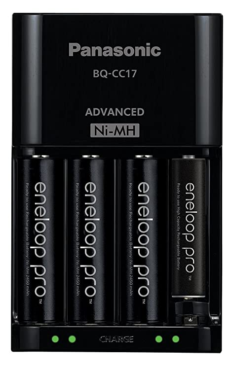 Panasonic BQ-CC17KSBA eneloop Advanced Individual Battery Charger with 4 LED Charge Indicator Lights, Black