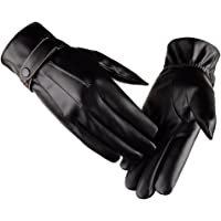 Tinksky Winter Warm Gloves Men's Touch Screen Texting Leather Outdoor Driving Cycling Thick Lining Gloves Blend Cuff…