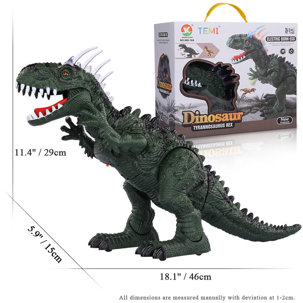 TEMI Electronic Walking Dinosaur LED Light Up Toys for Kids Boys Girls, Jurassic Green Tyrannosaurus T Rex Battery Powered Velociraptor Dragon Model w/ Sounds and Projection Lights, Laying Eggs by TEMI (Image #7)