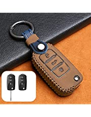 HIBEYO Smart autosleutelhoes past voor VW Golf beschermhoes afstandsbediening sleutelhoes cover voor Passat Polo CC EOS Beetle Skoda Seat sleutelbehuizing met lederen sleutelhanger-B bruin