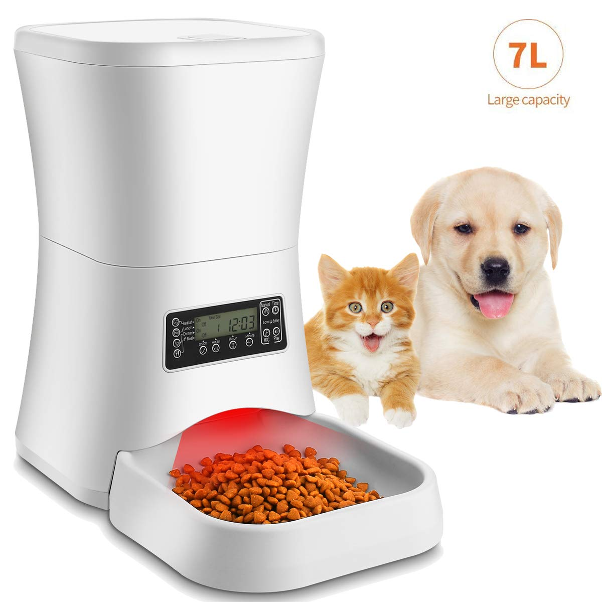 Homdox 7L Automatic Pet Feeder Food Dispenser for Cat and Dog, Auto Cat Feeder with Timer Programmable, Portion Control & Voice Recording - Up to 4 Meals for Small to Large Size Cats Dogs by Homdox