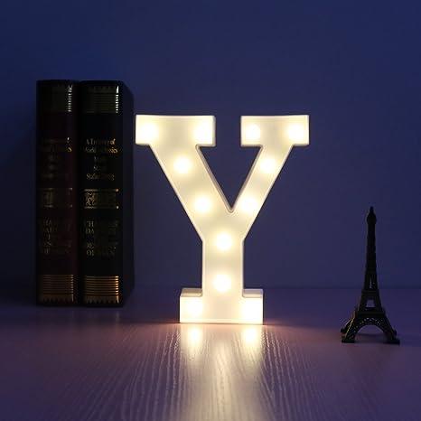Led Lampe Décorative Lumière Led Lettres Et Chiffres Illuminé Blanc Pour Anniversaire De Mariage De Noce Tenture Murale Décor Y