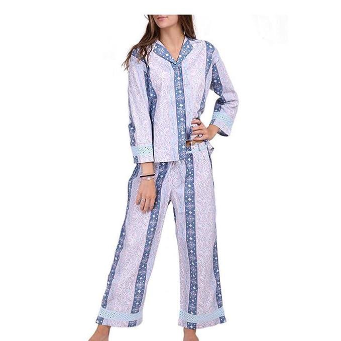 Hzjundasi Señoras Cuello en V Delgado 2 piezas Conjunto de pijamas Lujo más el tamaño Primavera / Otoño Algodón Turndown Collar Camisón Mujer Ropa de dormir ...