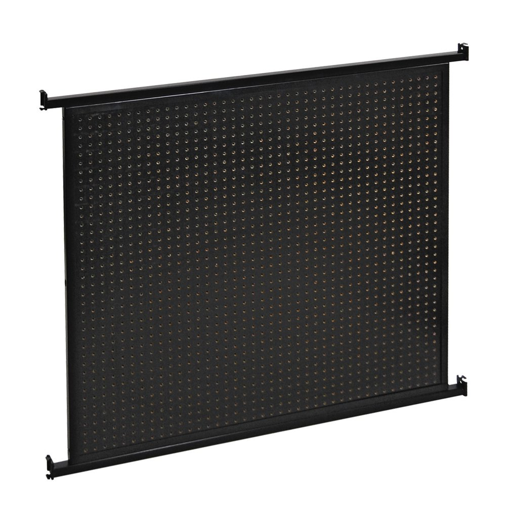 Retails Black Metal/MDF Queuing System 2-Sided Pegboard Panel Wall 48''W x 43''H