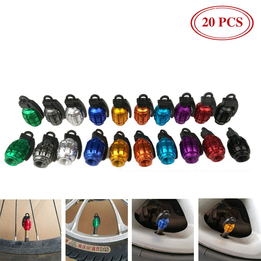 YESON Bike Tire Valve Cover, Schrader Valve Cap Multi-Color Anodized Machined French Presta Valve stem caps Dust Covers 20PCS by YESON (Image #1)