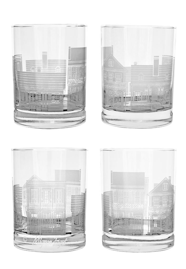 Mignon Faget Creole Cottage Double Old Fashioned Glasses, Set of 4