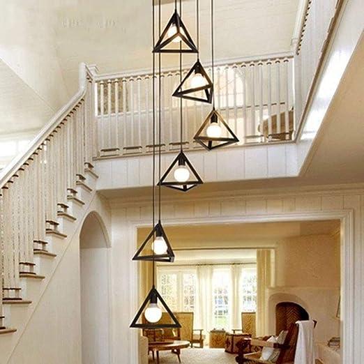 Atten Colgando del Accesorio Ligero, Vintage de Hierro Forjado Escalera de la lámpara, Dúplex Escalera de Caracol Largo de la lámpara, Titular de la lámpara E27: Amazon.es: Hogar