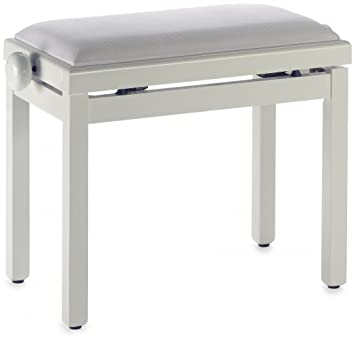 Stagg PB39 IVP VWH Adjustable Height Piano Bench With White Velvet Top    White