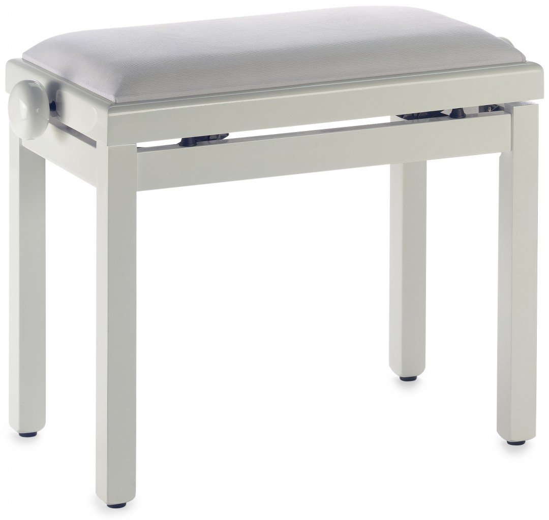 Stagg PB39 IVP VWH Adjustable Height Piano Bench with White Velvet Top - White
