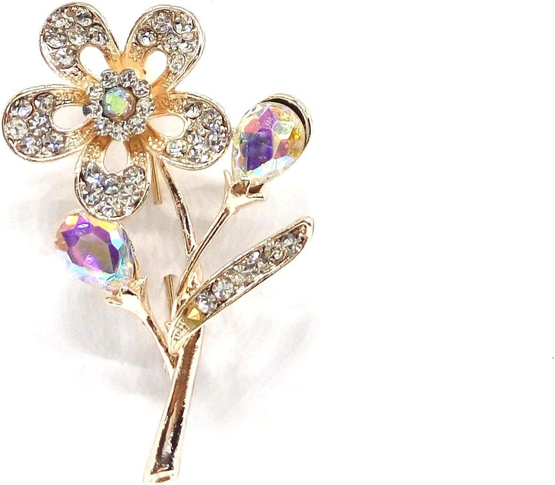 Charming Rhiestone Flower Brooch Crystal Breast Pin For Wedding Jewelry Womens