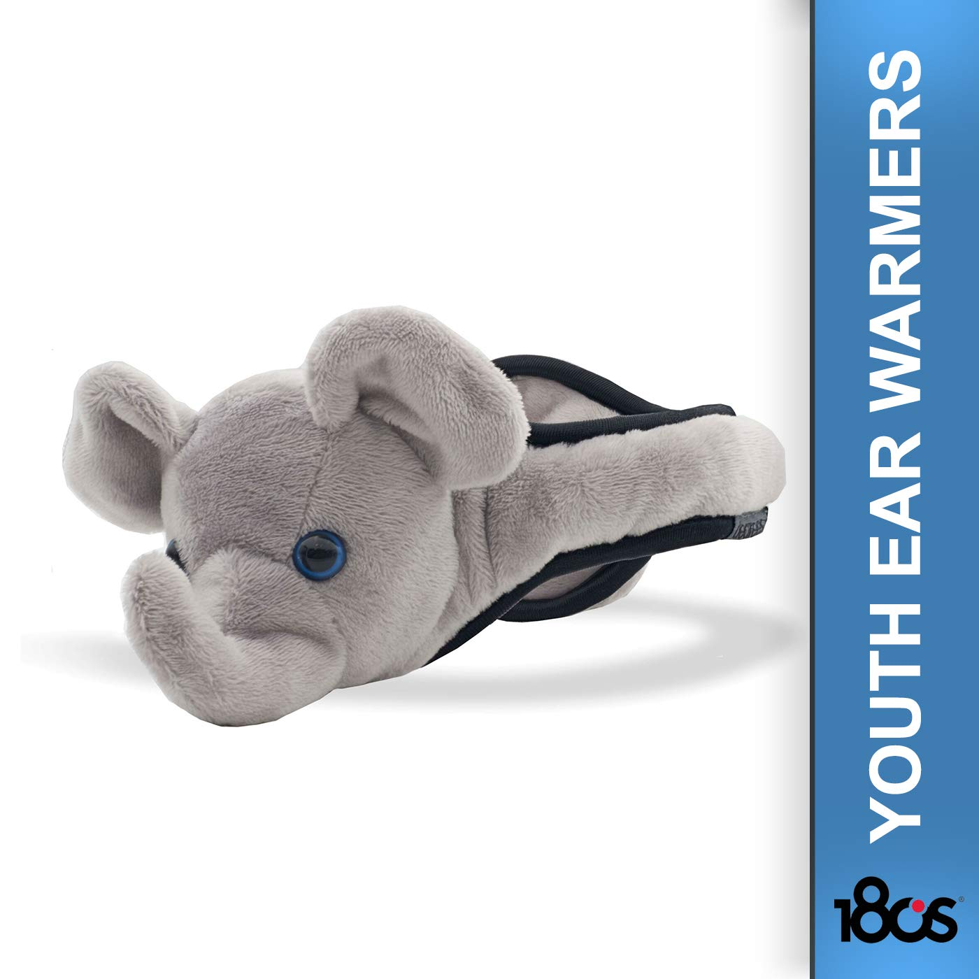 180s Youth and Kids Animal Design Plush Thermo Insulated Ear Warmers – Adjustable Size Gray