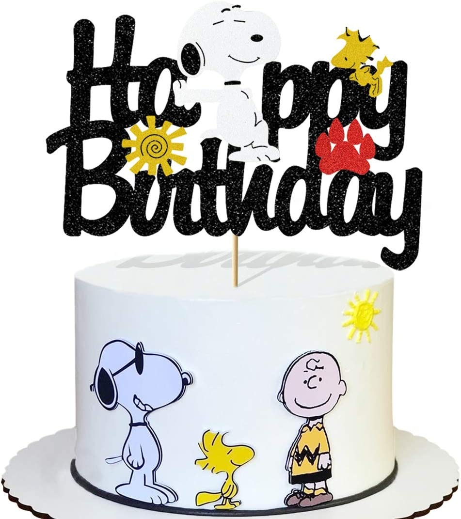Glorymoment Cute Cake Decor for Snoopy Birthday Cake Topper for Girls Boys Kids Birthday Party Decor, Glitter Happy Birthday Cake Topper for Snoopy Theme Party, Cartoon Dog Theme Decorations (6.7'' x 4.76'')