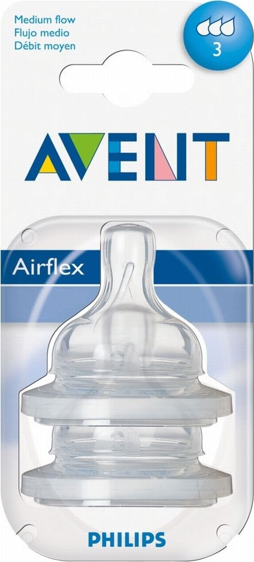 Avent Airflex Silicone Teats - Medium Flow 3 Hole 3mth+ (2) - Pack of 6