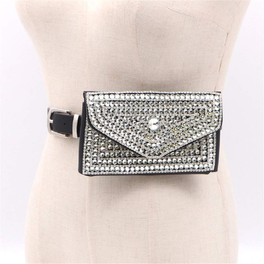 Women Belt Bags Women Belt Bags Luxurious Crystal Rhinestone Waist Bag Multifunction Mini PU Leather Travel Bumbag Holiday Fanny Pack Cell Phone Pouch Money Holder for Outdoor Sports For Women Cross B