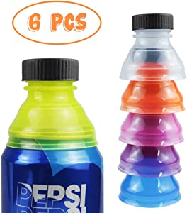 Mity rain 6 Pack Can Bottle Tops / Pop Can Lids For Soda, Beer, Energy Drinks, Juice, Seltzer / Reusable Fizz Lids