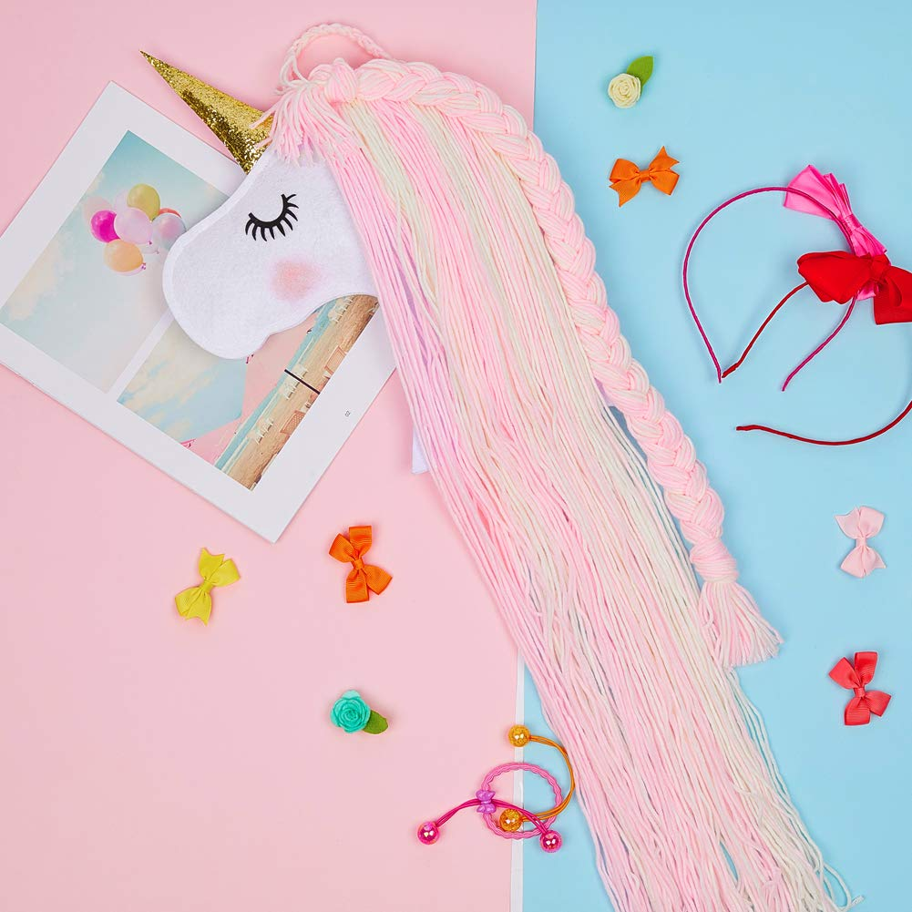 Basumee Unicorn Hair Bow Holder for Girls Wall Hanging Decor and Baby Hair Clip Hanger Organizer Hot Pink Cyan Unicorn