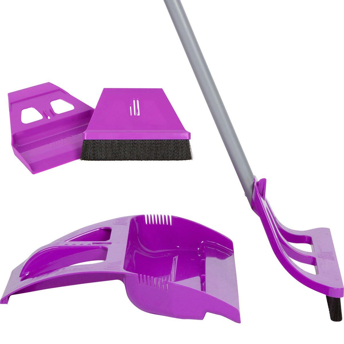 WISP Cleaning Set WISPsystem Telescoping Broom and Dustpan with miniWISP Hand Broom w/Bristle Seal Technology (Purple)