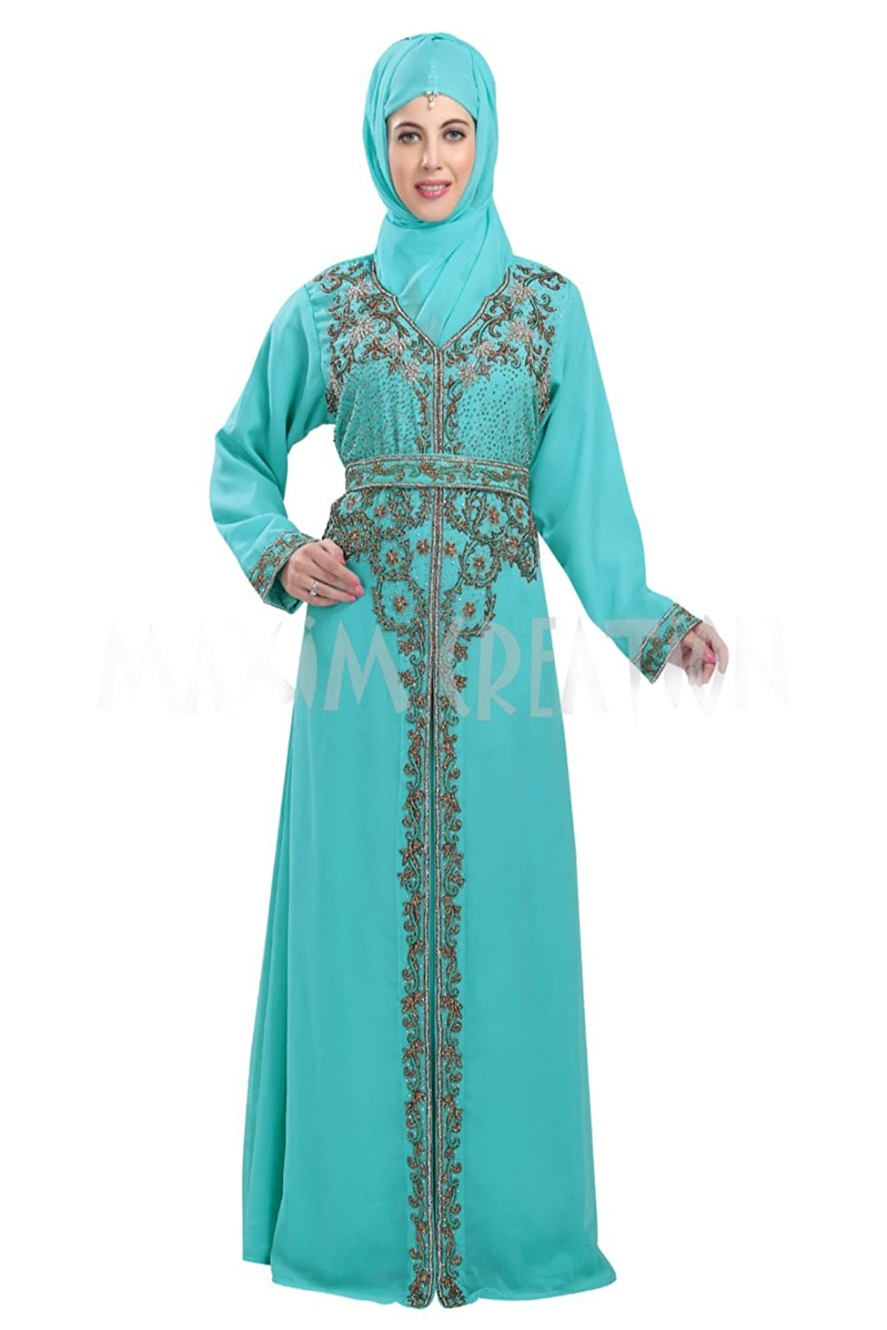 Beautiful Bling Hand Embroidery Maghribi Kaftan By Maxim Creation 5816