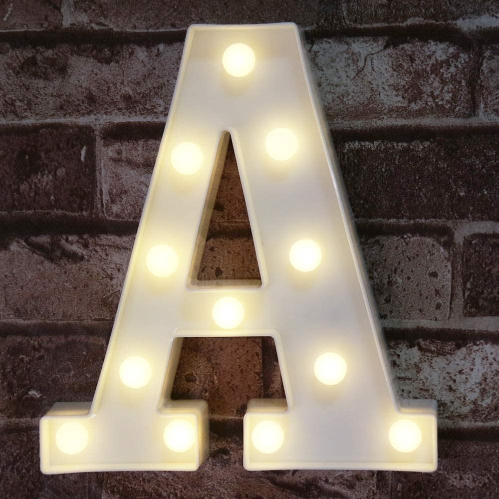 Pooqla LED Marquee Letter Lights Sign, Light Up Alphabet Letter for Home Party Wedding Decoration A