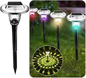 UMICKOO Solar Lights Outdoor, 8 Pack Auto Changing Solar Pathway Colorful Bright Glass Garden Lights, Waterproof Solar Powered Landscape Lights for Lawn Patio Courtyard Walkway Yard (Warm White)