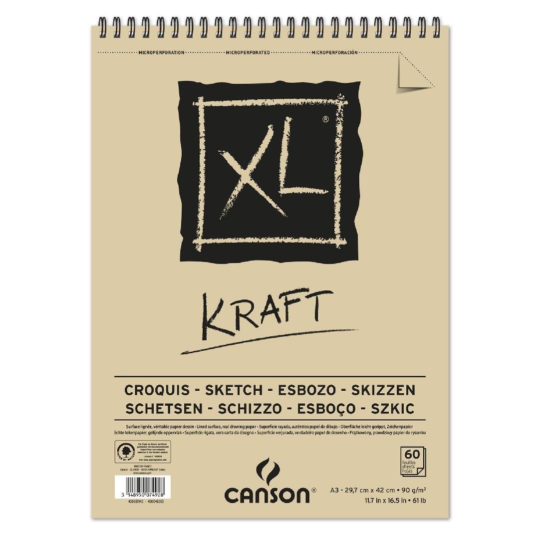 Canson XL Kraft gerippt Blocco da disegno 90/G//MQ 60/fogli per bloccospirale sul lato corto marrone chiaro 297 x 432 mm marrone