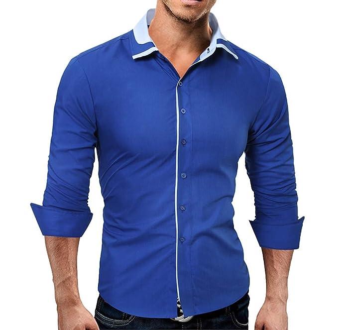 Bekleidung Business Luckycat Männer Hemd Art und Weise Normallack männliches zufälliges langes Hülsen Hemd Mode 2018 LUCKYCAT Herren Hemden TWO