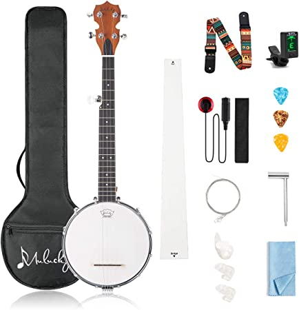 Mulucky 5 String Banjo Mini - 28 Inch Closed Solid Back Beginner Kit With Gig Bag Tuner Picks Strings Strap - B806