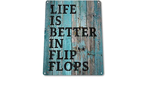 TIN SIGN B431 Flip Flop Life Beach House Cottage Rustic Beach Home Sign Decor