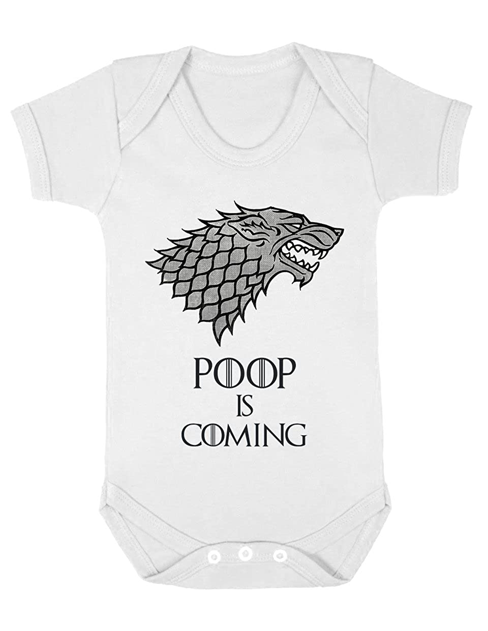 Poop is Coming Funny Game of Thrones Inspired Slogan White Baby Grow