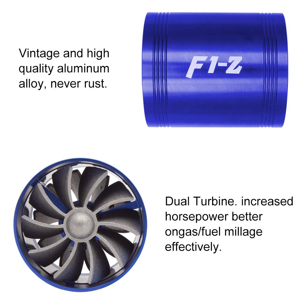 Amazon.com: Mookis F1-Z Double Turbo Turbine Charger, Air Intake Fuel Saver Fan (Blue): Automotive