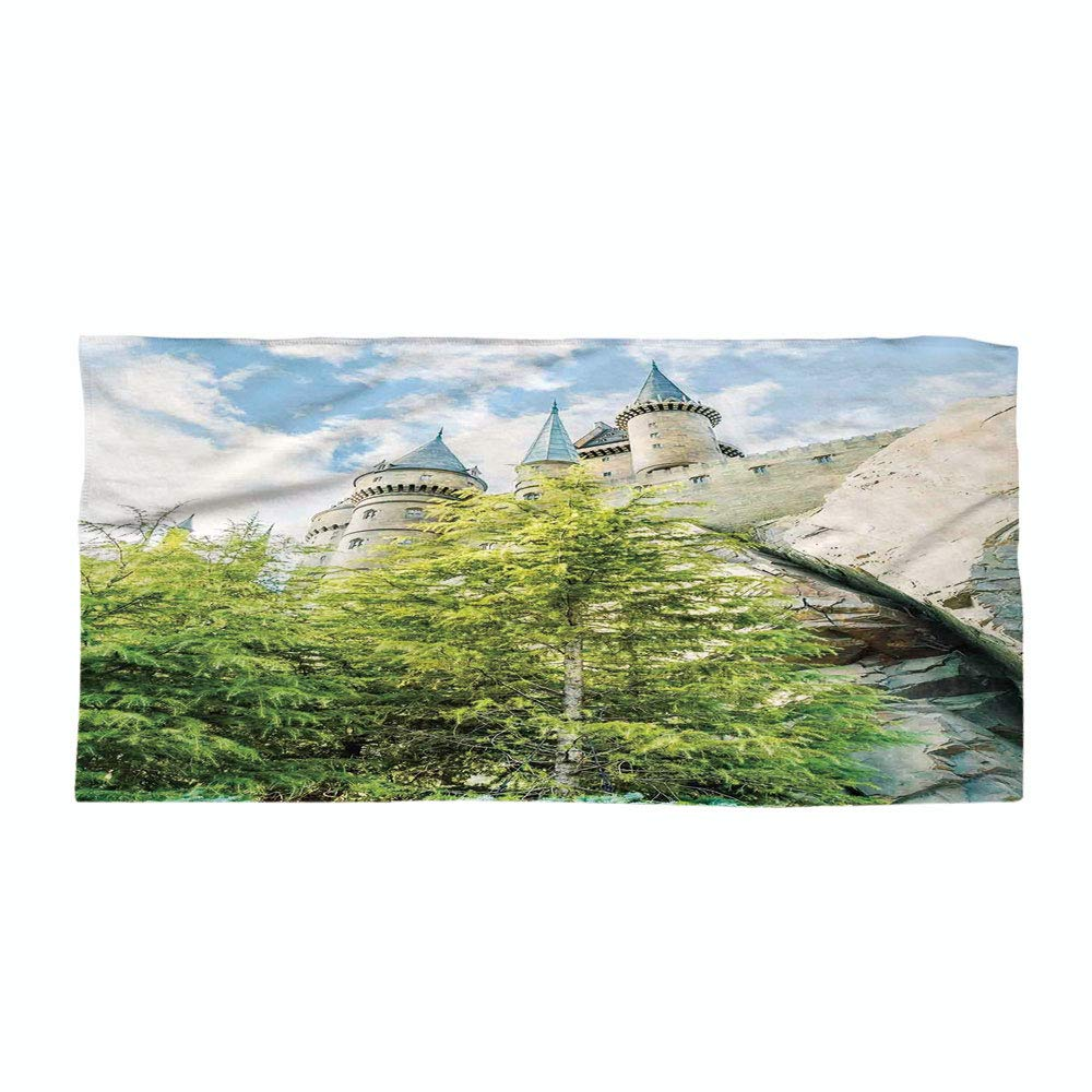 Cotton Microfiber Beach Towel,Wizard,Witchcraft School and Wizard Castle in Woods Replica in Japan Picture Print,Green Blue Beige,for Kids, Teens, and Adults