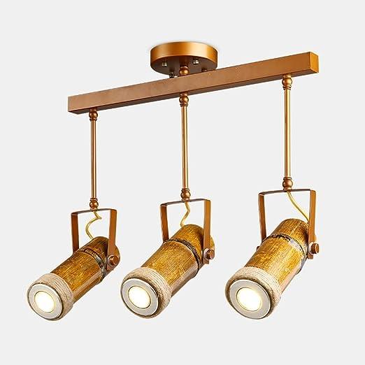 HOMEE Luz de techo- proyectores de tubo de bambú de cáñamo ...