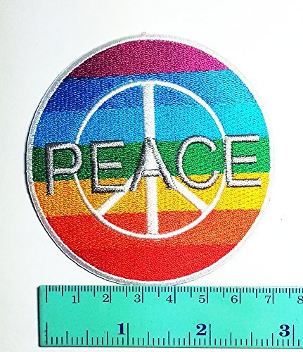 3 Patch Peace Rainbow Symbol Sign Hippie DIY Applique Logo Patch Sew Iron on Logo Embroidered Badge Sign Emblem (Diy Hippie Costume)