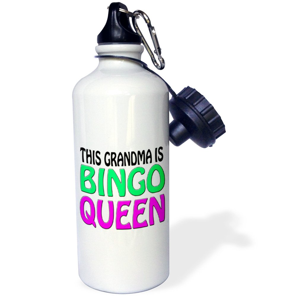 3dRose wb_149771_1 ''This grandma is bingo queen, Hot pink, Lime green, '' Sports Water Bottle, 21 oz, White by 3dRose