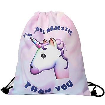 Gemini mall® Unicorn Print Shoulder Bags Pink Cartoon Drawstring Backpack  School Rucksack Travel Sport Gym Bag 9521772d586f0