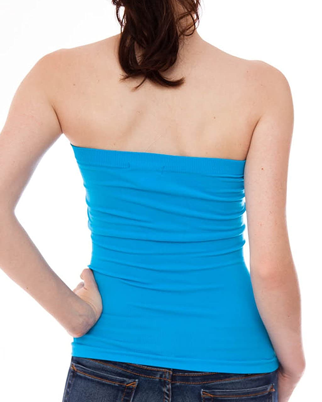 a4ae664b15 Ladies Blue Seamless Ribbed Tube Top at Amazon Women s Clothing store  Tank  Top And Cami Shirts
