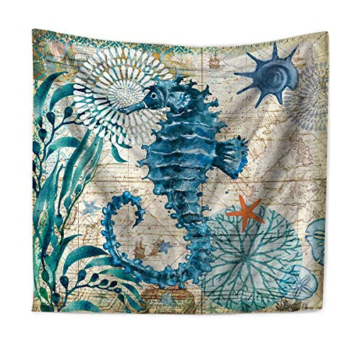 - Nidoul Psychedelic Wall Tapestry, Marine Life Tapestry Wall Hanging, Blue Ocean Life Tapestry, Wall Art Decoration for Bedroom Living Room Dorm, Window Curtain Picnic Mat, 59