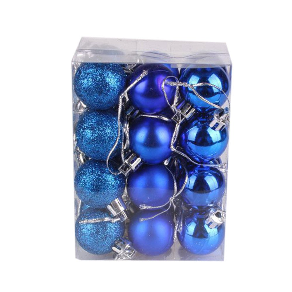 30mm Christmas Xmas Tree Ball Bauble Hanging Ornament Set Decorations Holiday Xmas Party Decoration Tree Ornaments App 30mm (Blue, App 30mm)