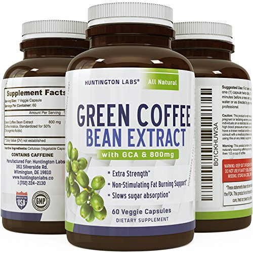 Pure Green Coffee Bean Extract for Weight Loss Pills - Dietary Supplement to Burn Fat Curb Appetite and Boost Metabolism...