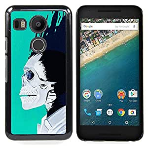 - Teal White Black Skull Blue Flames - - Snap-On Rugged Hard Cover Case Funny HouseFOR LG Google Nexus 5X