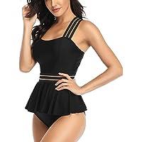 Women's Swimsuit Ruffles High Waisted Tummy Control Bathing Suit Bikini Set