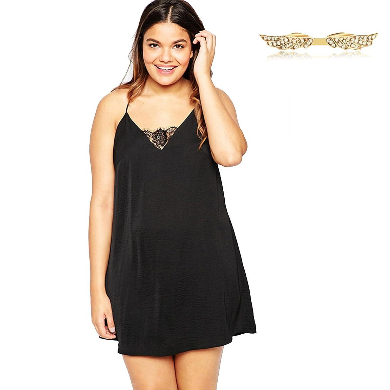 Angelwing Damen Kleider Plus-Size Casualkleid Spitzenkleid V ...