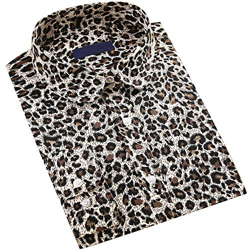 DOKKIA Women's Tops Vintage Casual Shirts Cotton Long Sleeve Work Button Up Dress Blouses (Leopard Print Black Khaki, X-Large)