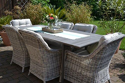 Amazon.de: Gartenmöbel Set Como-6 Tisch ausziehbar Holzdekor mit 6 ...