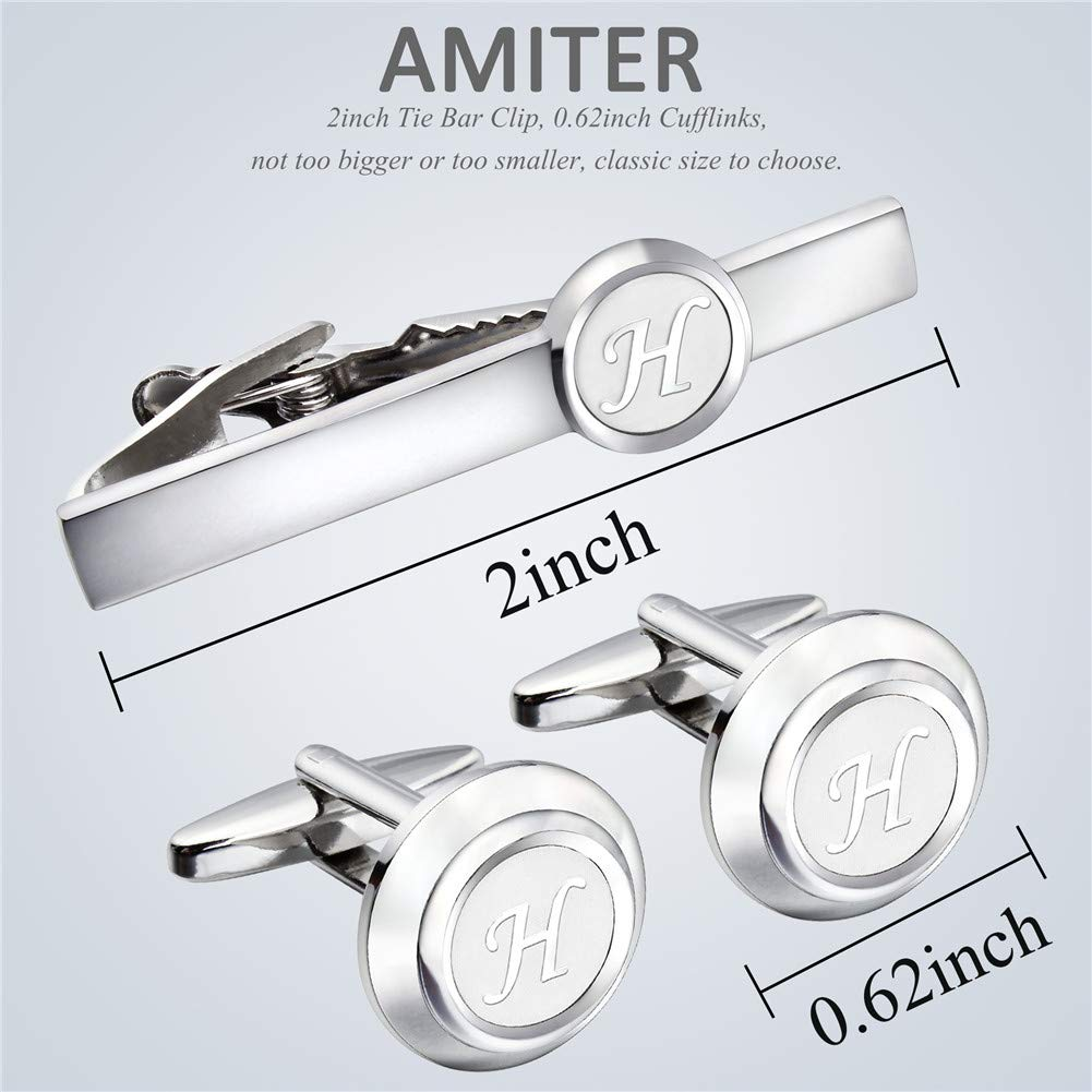 AMITER Mens Classic Cufflinks//Tie Clip//Cufflinks and Tie Clip Set for Men Silver Initials A-Z Formal Business Wedding Tuxedo Shirts