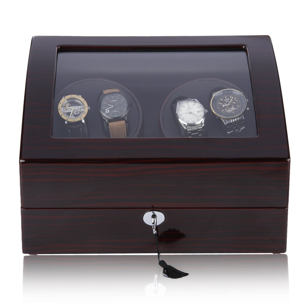 CRITIRON 4+6 Automatic Watch Winder Luxury Storage Case Rotating Display Box, Wood Shell with Piano Paint Brown