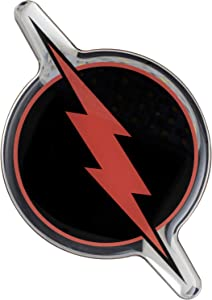 Fan Emblems Reverse Flash Logo Car Decal Domed/Black/Red/Chrome Finish, DC Comics The Flash Automotive Emblem Sticker Applies Easily to Cars, Trucks, Motorcycles, Laptops, Cellphones, Almost Anything